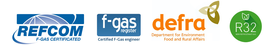 REFCOM, F Gas, Defra and R32 Logos
